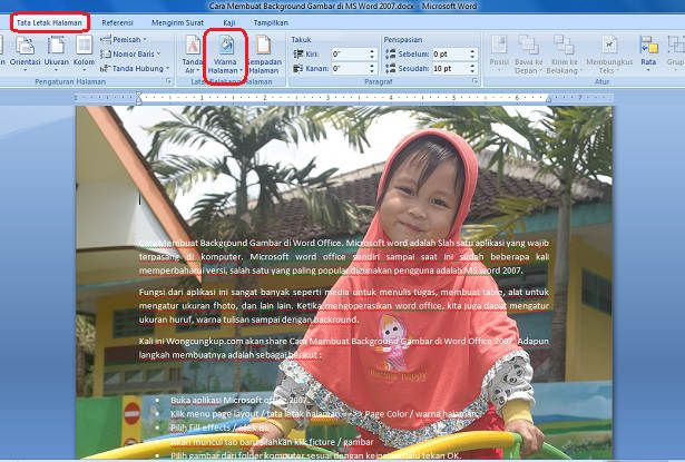 Cara Membuat Background Gambar di MS Word Office